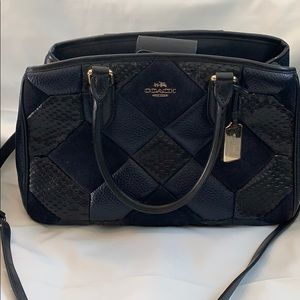 Coach Navy Patchwork Leather Mini Crossbody Bag
